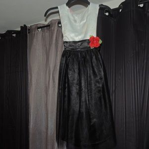 Girls White and Black Rose Party Dress